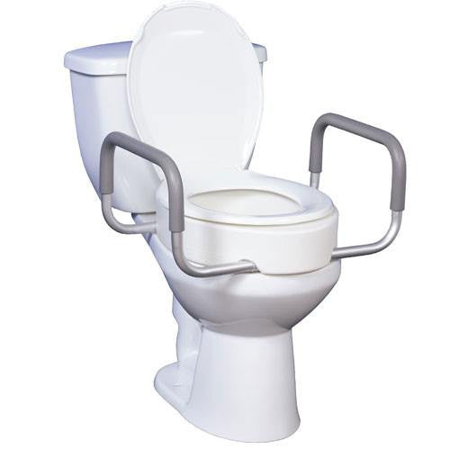 Premium Elongated Toilet Seat Riser with Removable Arms