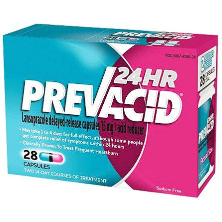Buy Prevacid 24 Hour Acid Reducer Delayed-Released Caps 28/Box used for Acid Reflux by Novartis Consumer Health