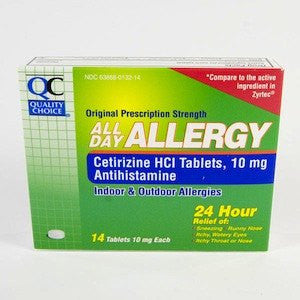 QC Cetirizine All Day Allergy Relief Antihistamine Tablets 14 Count
