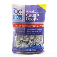 QC Menthol Eucalyptus Cough Drops 30/Bag for Sore Throat by Quality Choice | Medical Supplies