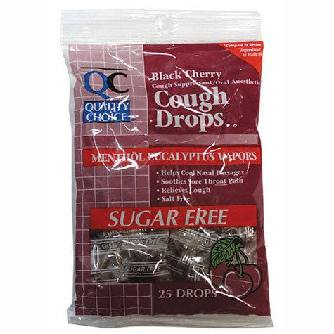 Buy Diabetic Sugar Free Black Cherry Cough Drops 25/Bag by Quality Choice from a SDVOSB | Sore Throat