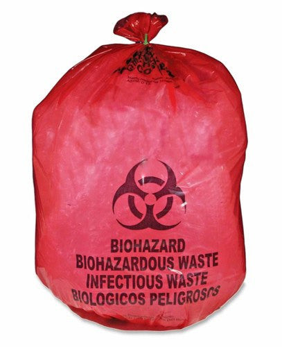 Red Biohazard Bags 24 x 24 - 250/cs - 12 Microns