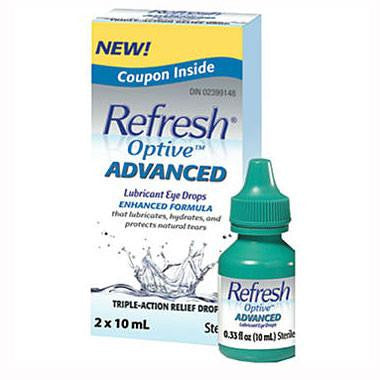 Buy Refresh Optive Advanced Lubricant Eye Drops, 2 x 10ml Bottles online used to treat Lubricant Eye Drops - Medical Conditions