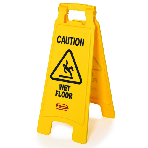 "Buy Rubbermaid Floor Sign ""Caution, Wet Floor"", Bright Yellow online used to treat Cleaning & Maintenance - Medical Conditions"