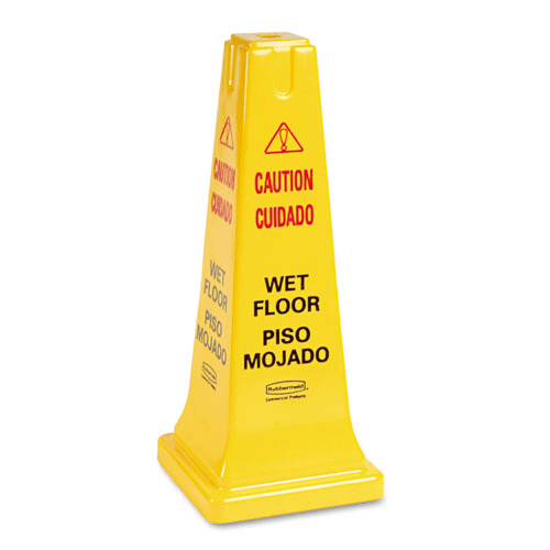 "Rubbermaid Four-Sided Multi-Lingual ""Caution, Wet Floor"" Sign for Cleaning & Maintenance by Rubbermaid 