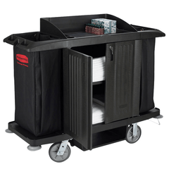 Rubbermaid Full-Size Housekeeping Cart, Black for Cleaning & Maintenance by Rubbermaid | Medical Supplies