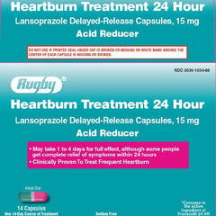 Rugby Lansoprazole 15mg Heartburn Treatment 24 Hour for Acid Reflux by Rugby Laboratories | Medical Supplies
