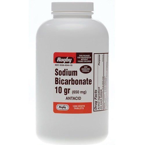 Rugby Sodium Bicarbonate Tablets 650mg for Heartburn Relief by Rugby Laboratories | Medical Supplies