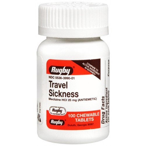 Rugby Travel Sickness Relief Chewable Tablets 100 Count