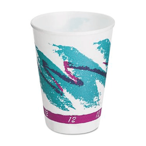 Solo Jazz Styrofoam Hot & Cold Cups 12 oz Retro Design 1000/Case - Kitchen & Bathroom - Mountainside Medical Equipment