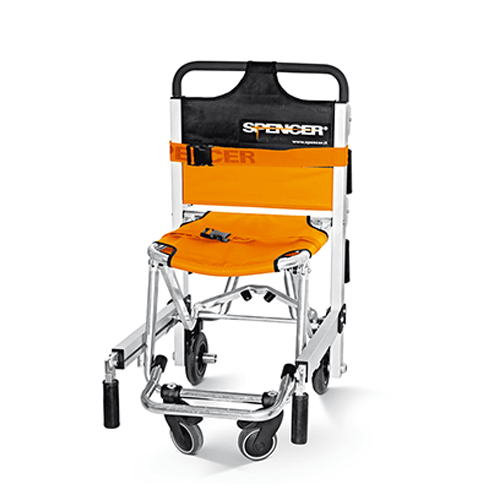 Spencer Emergency Evacuation Transport Chair, Black/Orange - Transport Wheelchairs - Mountainside Medical Equipment