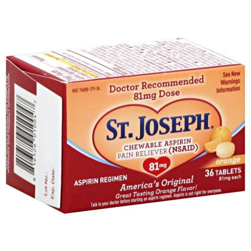 Buy St Joseph Chewable Low Dose Aspirin 36 Tablets with Coupon Code from Insight Pharmaceuticals LLC Sale - Mountainside Medical Equipment
