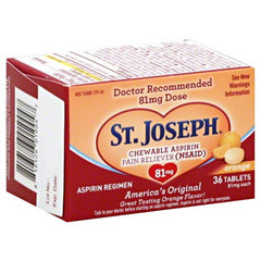 St Joseph Chewable Low Dose Aspirin 36 Tablets for Over the Counter Drugs by Insight Pharmaceuticals LLC | Medical Supplies