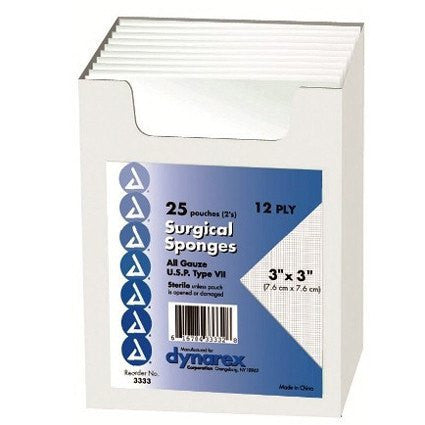 "Gauze Sponges 3"" x 3"", 12-Ply Sterile, 25/Box"