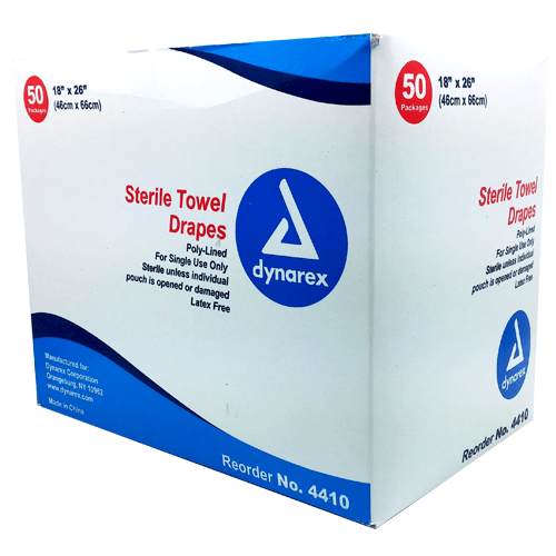 "[price] Sterile Towel Drapes, 18""x 26"", Plain 50/box used for Surgical Instruments made by Dynarex [sku]"