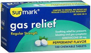Gas Relief Chewable Tablets, 100/BT - Gas and Bloating Relief - Mountainside Medical Equipment