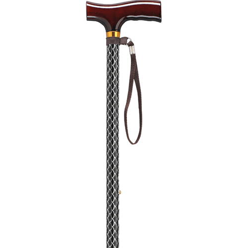 Buy Designer Walking Cane with Wooden T-Handle and Wrist Strap online used to treat Canes - Medical Conditions