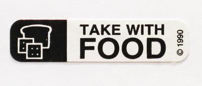 Take With Food Pharmacy Label For Medication