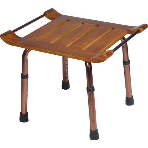 Teak Adjustable Height Rectangular Bath Bench