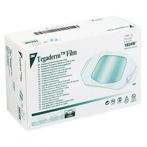 "Tegaderm Film Dressings, 2.37"" x 2.75"", 100/box  #1624W - Transparent Film Dressing - Mountainside Medical Equipment"
