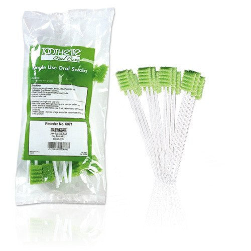 Sage Toothettes Plus Oral Swabs with Sodium Bicarbonate - Dry Mouth Treatment - Mountainside Medical Equipment