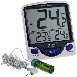 Traceable Jumbo Refrigerator Freezer Thermometer with 5 ml Vaccine Bottle - Refrigerator Thermometers - Mountainside Medical Equipment