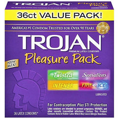 Trojan Pleasure Pack Lubricated Condoms 36-Pack for Planned Parenthood by Church & Dwight | Medical Supplies
