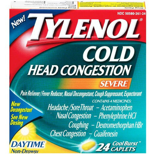 Tylenol Severe Head Cold Congestion Daytime Relief 24 Cool Burst for Cold Medicine by DOT Unilever | Medical Supplies