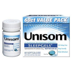 Buy Unisom Sleepgels Nighttime Sleep Aid 60 Count by Chattem from a SDVOSB | Insomnia