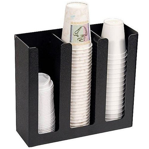Vertiflex Commercial Cup Holder, 3-Compartment, Black - Kitchen & Bathroom - Mountainside Medical Equipment