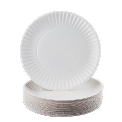 "Biodegradable White Paper Plates 9"" (1000/ Bulk Case) - Disposable Paper Plates - Mountainside Medical Equipment"