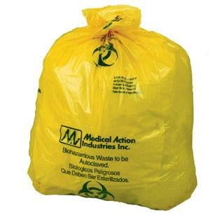 Buy Disposable Yellow Infectious Linen Bags with Biohazard Symbol 250/Case online used to treat Isolation Supplies - Medical Conditions