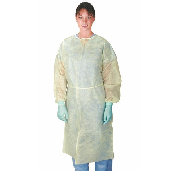 Buy Dynarex Isolation Gown Yellow with Full Back 50/case online used to treat Isolation Supplies - Medical Conditions
