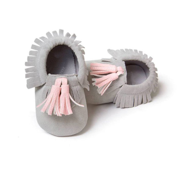 Unisex Boys Girls Soft PU Leather Tassel Moccasins Toddler Infant Moccasin Bow Shoes