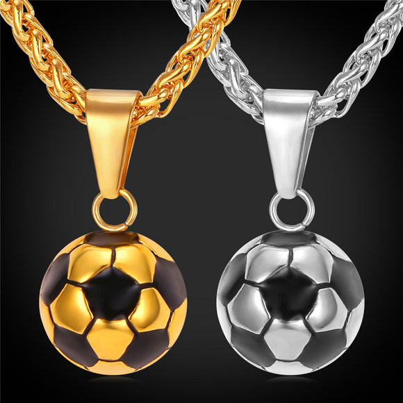 Football Soccer Pendant With Chain Stainless Steel