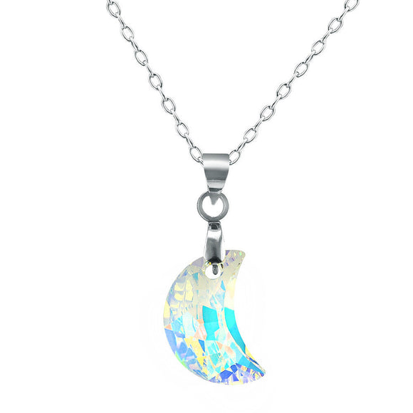 Crystal moon stone half moon necklace pendant