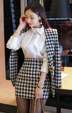 Houndstooth 2 Piece Blazer & Skirt Set