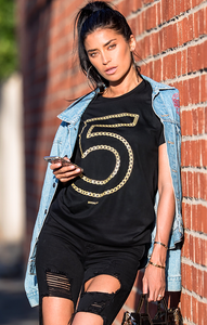 N°5 Metallic Gold Chain Linked Tee