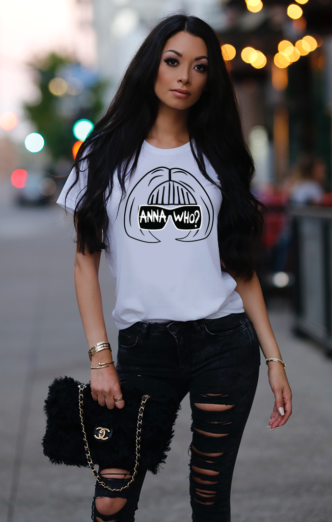 Anna Who B&W Stenciled Tee - White