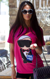 Karl Who Neon Glitter Tee - Pink