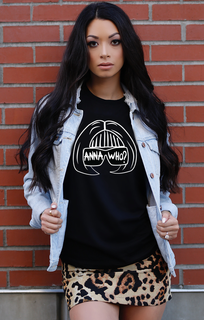 Anna Who B&W Stenciled Tee - Black (More Colors Available)