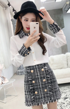 Tweed Gold Button Skirt & Blouse 2 Piece Set