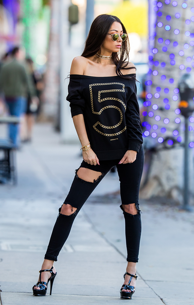 No 5 Metallic Gold Chain Off The Shoulder Sweater
