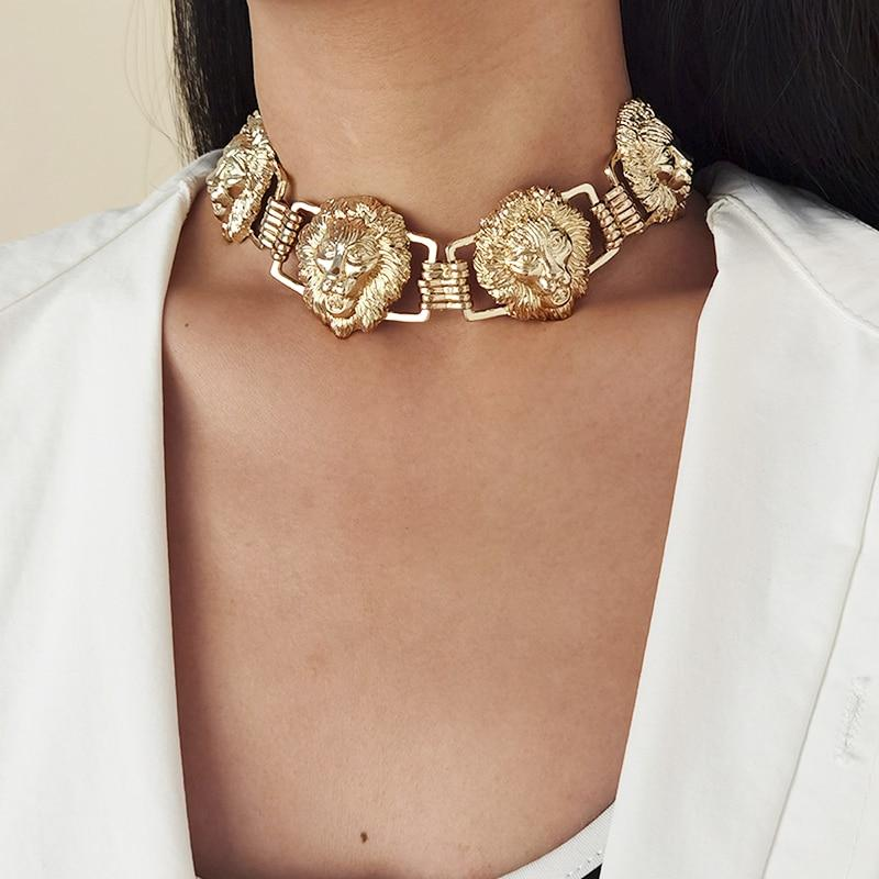 Lioness Vintage Style Choker - Gold & Silver