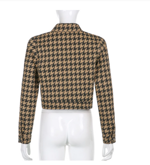 Houndstooth Denim Cropped Jacket
