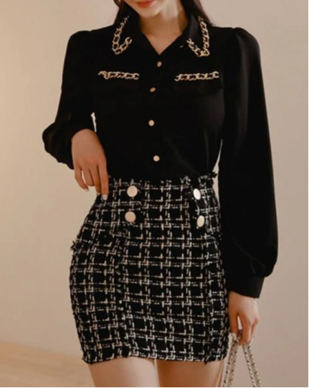 2-Piece Black Chiffon Blouse & Tweed Skirt