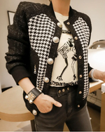 Houndstooth Tweed Bomber Jacket