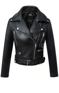 """Kendall"" Leather Moto Biker Jacket"