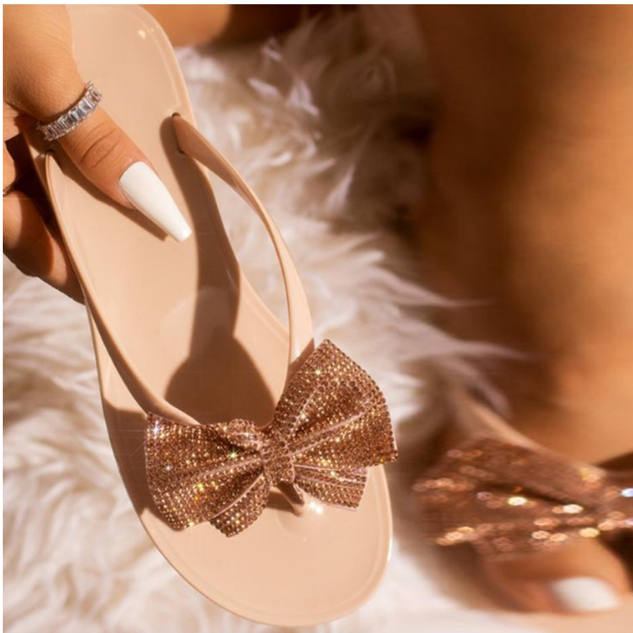 """Julia"" Swarovski Crystal Bow Sandals - You Save 75%"