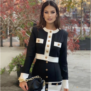 2-Piece Black & White Sweater & Skirt Set